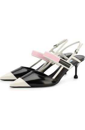 Кожаные туфли с ремешками на каблуке kitten heel | Фото №1
