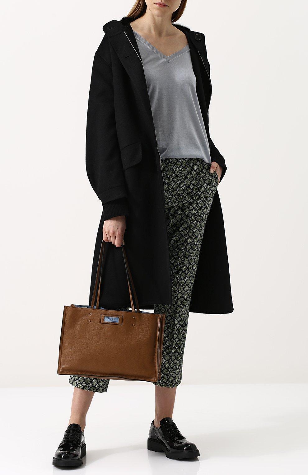 3abc230dbff3 Женская сумка-тоут etiquette PRADA коричневая цвета — купить за ...
