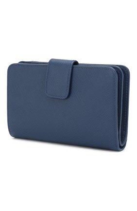Женские кожаный кошелек с логотипом бренда PRADA синего цвета, арт. 1ML225-QWA-F0016 | Фото 2