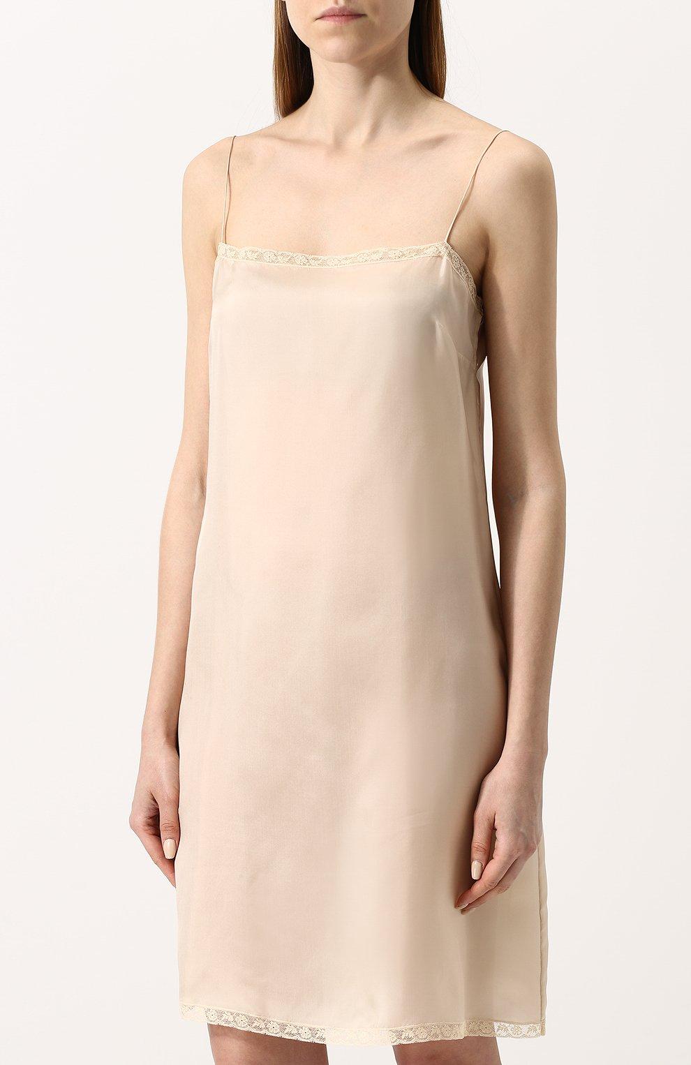 f5854a42d20 Женское бежевое однотонное платье-комбинация с кружевной отделкой ...