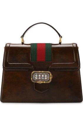Женская сумка-тоут из кожи medium GUCCI коричневого цвета, арт. 513138/0LBCT   Фото 1