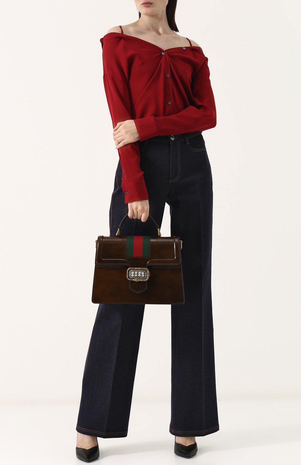 Женская сумка-тоут из кожи medium GUCCI коричневого цвета, арт. 513138/0LBCT   Фото 2