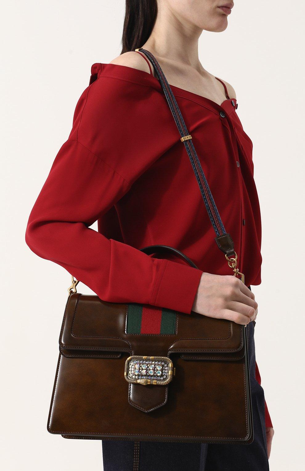 Женская сумка-тоут из кожи medium GUCCI коричневого цвета, арт. 513138/0LBCT   Фото 5