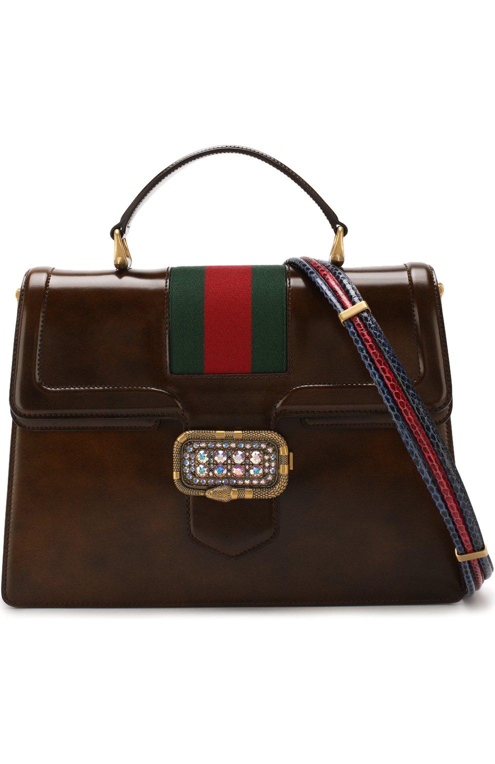 Женская сумка-тоут из кожи medium GUCCI коричневого цвета, арт. 513138/0LBCT   Фото 6
