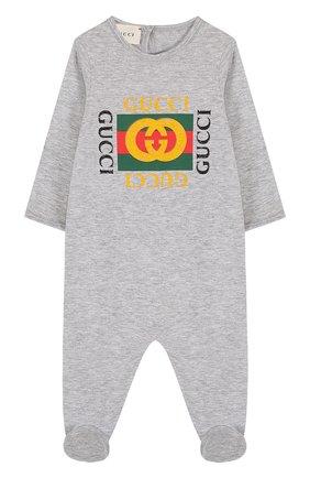 Детский хлопковая пижама с принтом GUCCI серого цвета, арт. 497847/X3L91 | Фото 1