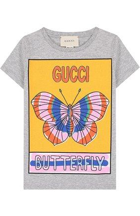 Детская хлопковая футболка с принтом GUCCI серого цвета, арт. 503646/X3L05 | Фото 1