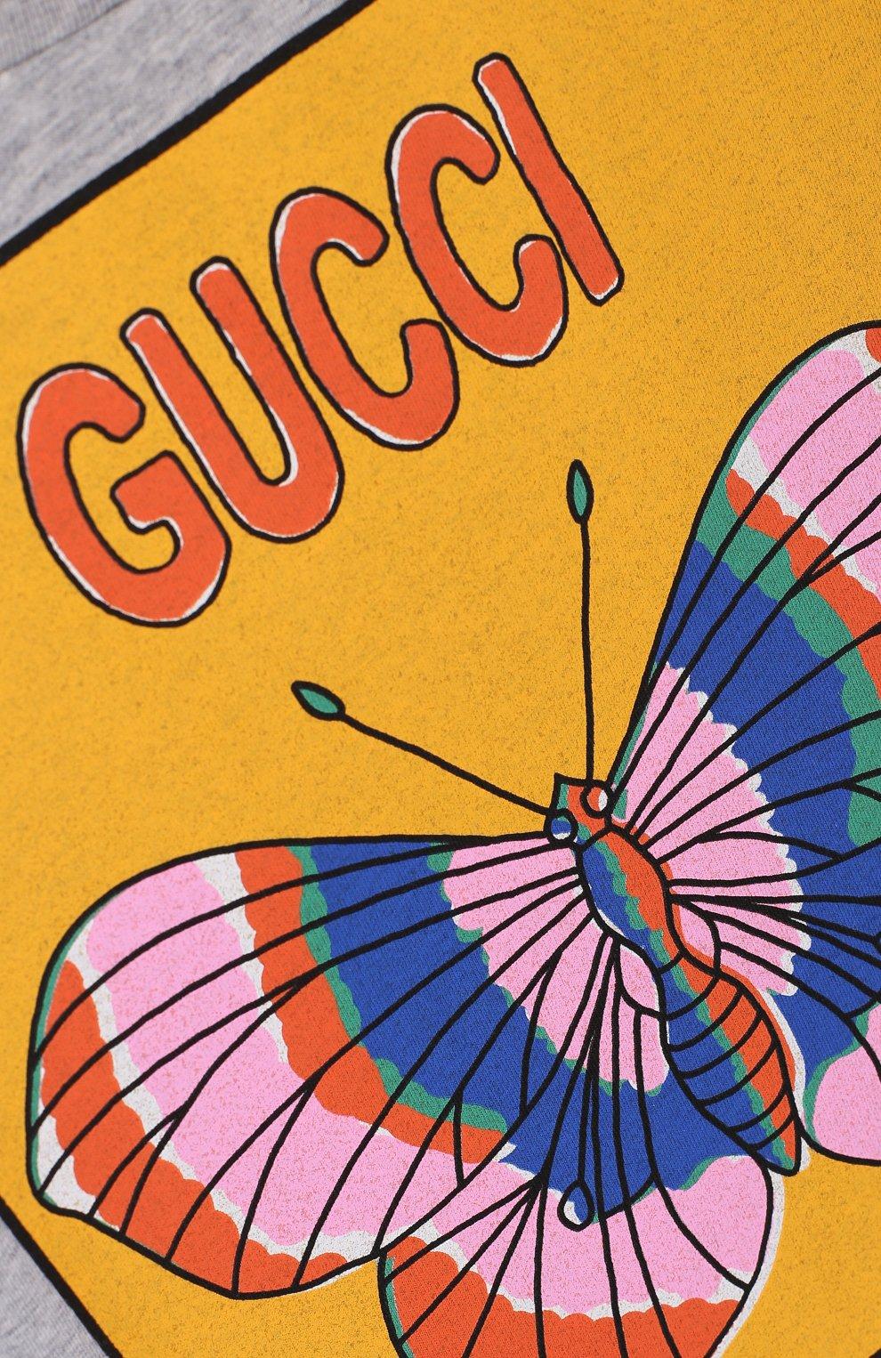 Детская хлопковая футболка с принтом GUCCI серого цвета, арт. 503646/X3L05 | Фото 3