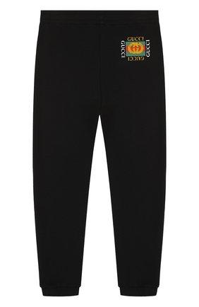 Детские хлопковые джоггеры с логотипом бренда GUCCI черного цвета, арт. 503867/X3L00 | Фото 1