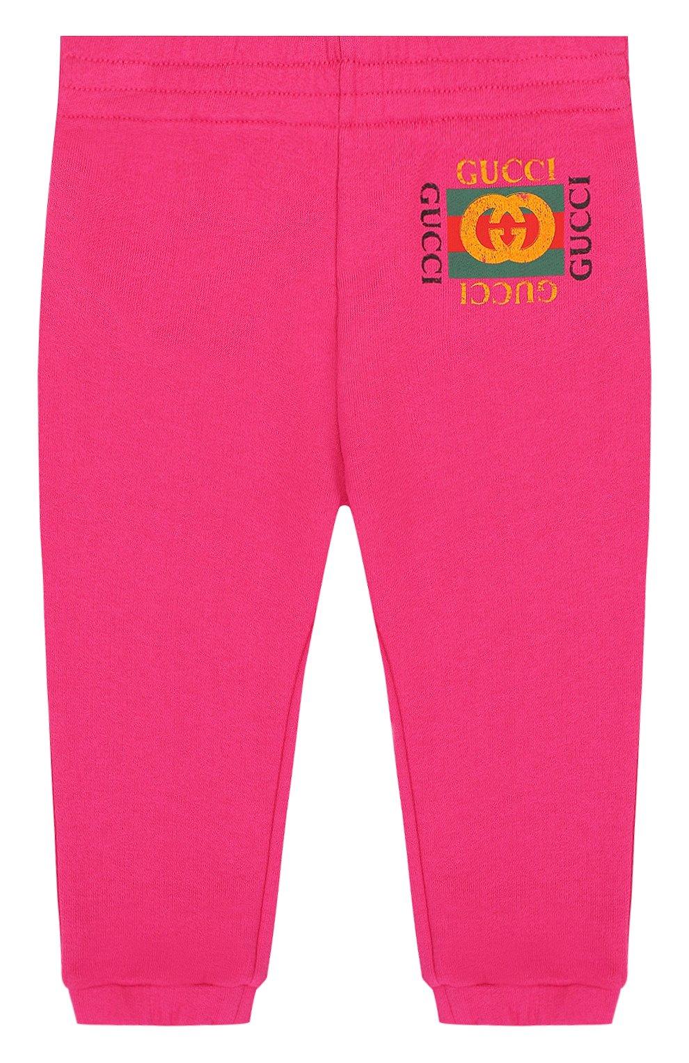 Детские хлопковые джоггеры с логотипом бренда GUCCI фуксия цвета, арт. 503867/X3L00 | Фото 1