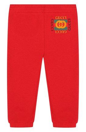Детские хлопковые джоггеры с логотипом бренда GUCCI красного цвета, арт. 509179/X3L00 | Фото 1