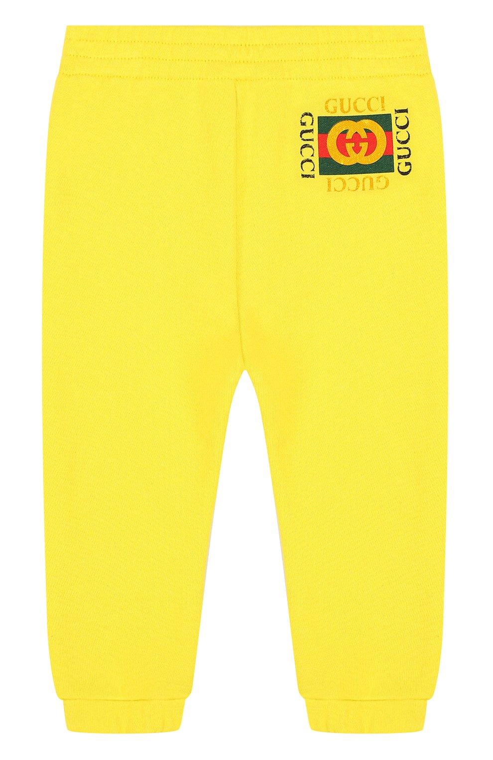 Детские хлопковые джоггеры с логотипом бренда GUCCI желтого цвета, арт. 509179/X3L00 | Фото 1