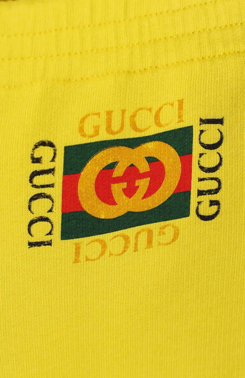 Детские хлопковые джоггеры с логотипом бренда GUCCI желтого цвета, арт. 509179/X3L00 | Фото 3