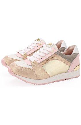Детские кожаные кроссовки с металлизированной отделкой MICHAEL MICHAEL KORS розового цвета, арт. ZIA ALLIE ZAY | Фото 1