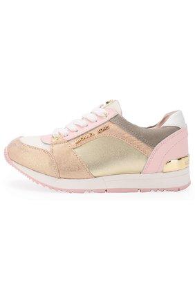 Детские кожаные кроссовки с металлизированной отделкой MICHAEL MICHAEL KORS розового цвета, арт. ZIA ALLIE ZAY | Фото 2