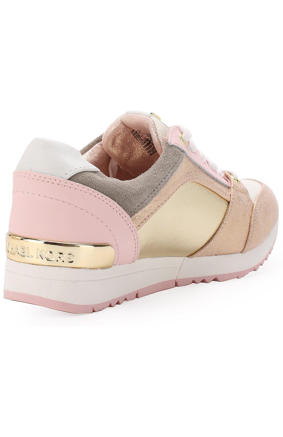 Детские кожаные кроссовки с металлизированной отделкой MICHAEL MICHAEL KORS розового цвета, арт. ZIA ALLIE ZAY | Фото 3