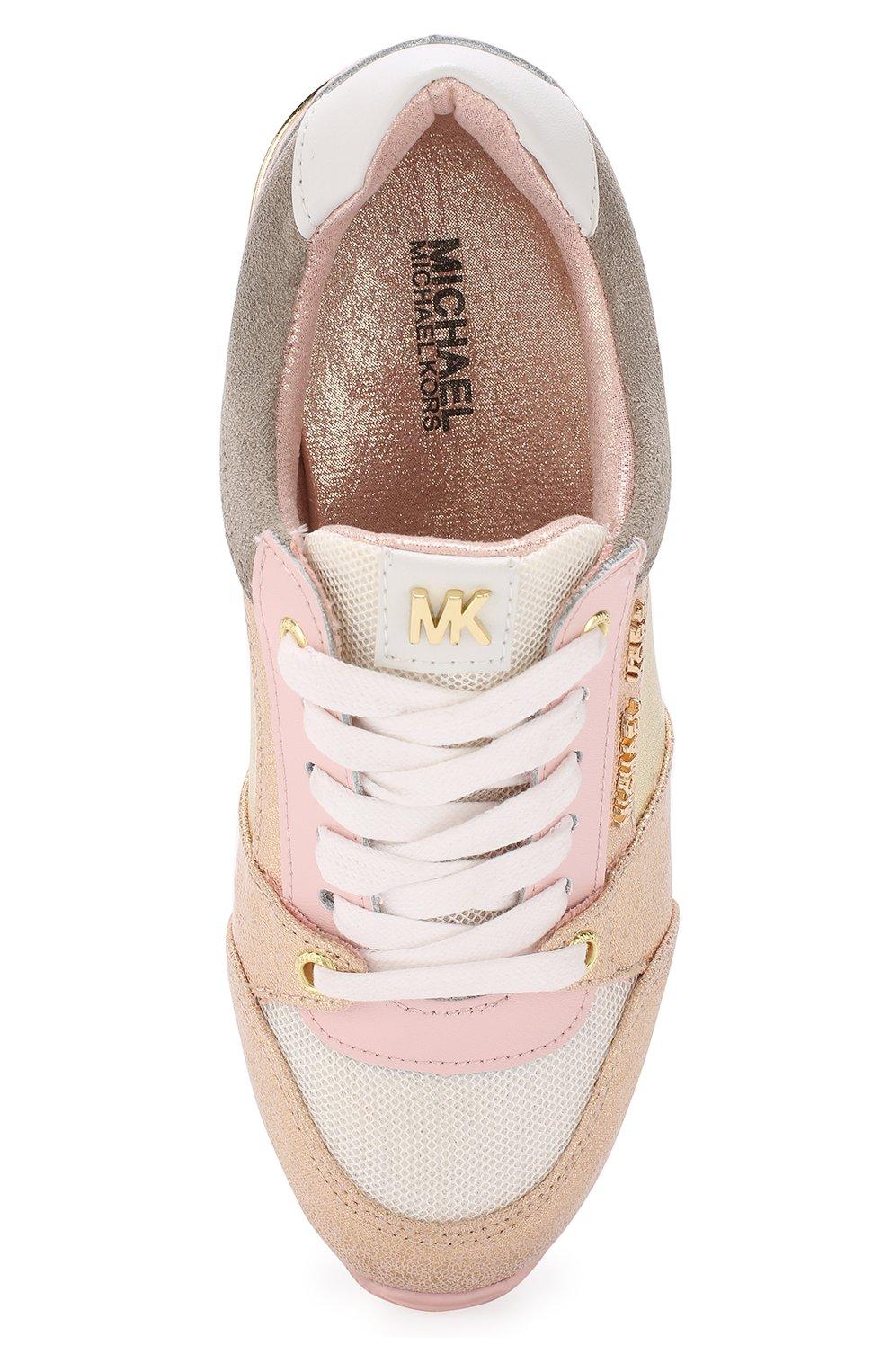 Детские кожаные кроссовки с металлизированной отделкой MICHAEL MICHAEL KORS розового цвета, арт. ZIA ALLIE ZAY | Фото 4