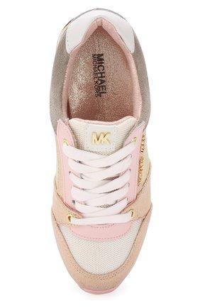 Детские кожаные кроссовки с металлизированной отделкой MICHAEL MICHAEL KORS розового цвета, арт. ZIA ALLIE ZAY-T | Фото 4