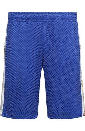 Мужские шорты свободного кроя с поясом на резинке GUCCI синего цвета, арт. 519486/X9S85 | Фото 1