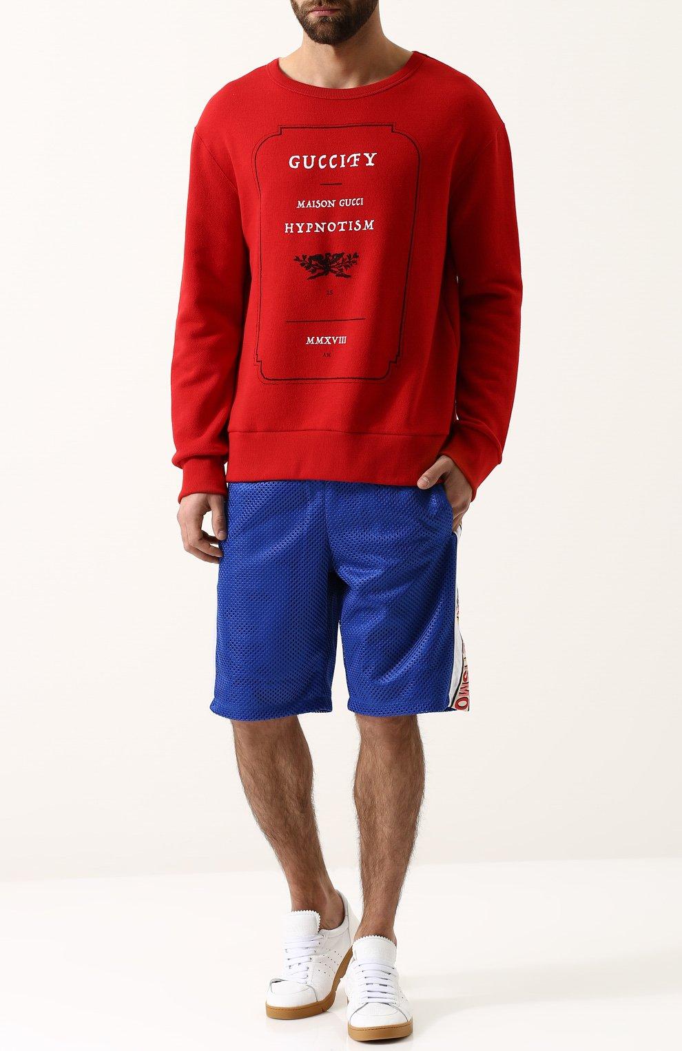Мужские шорты свободного кроя с поясом на резинке GUCCI синего цвета, арт. 519486/X9S85 | Фото 2