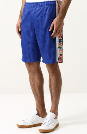 Мужские шорты свободного кроя с поясом на резинке GUCCI синего цвета, арт. 519486/X9S85 | Фото 3