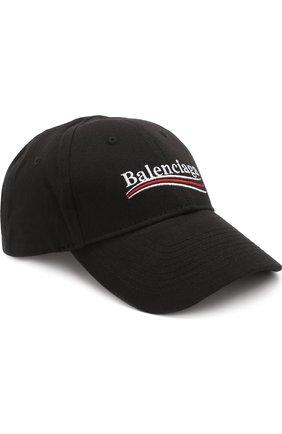 Женская хлопковая бейсболка с логотипом бренда BALENCIAGA черного цвета, арт. 505985/410B7 | Фото 1