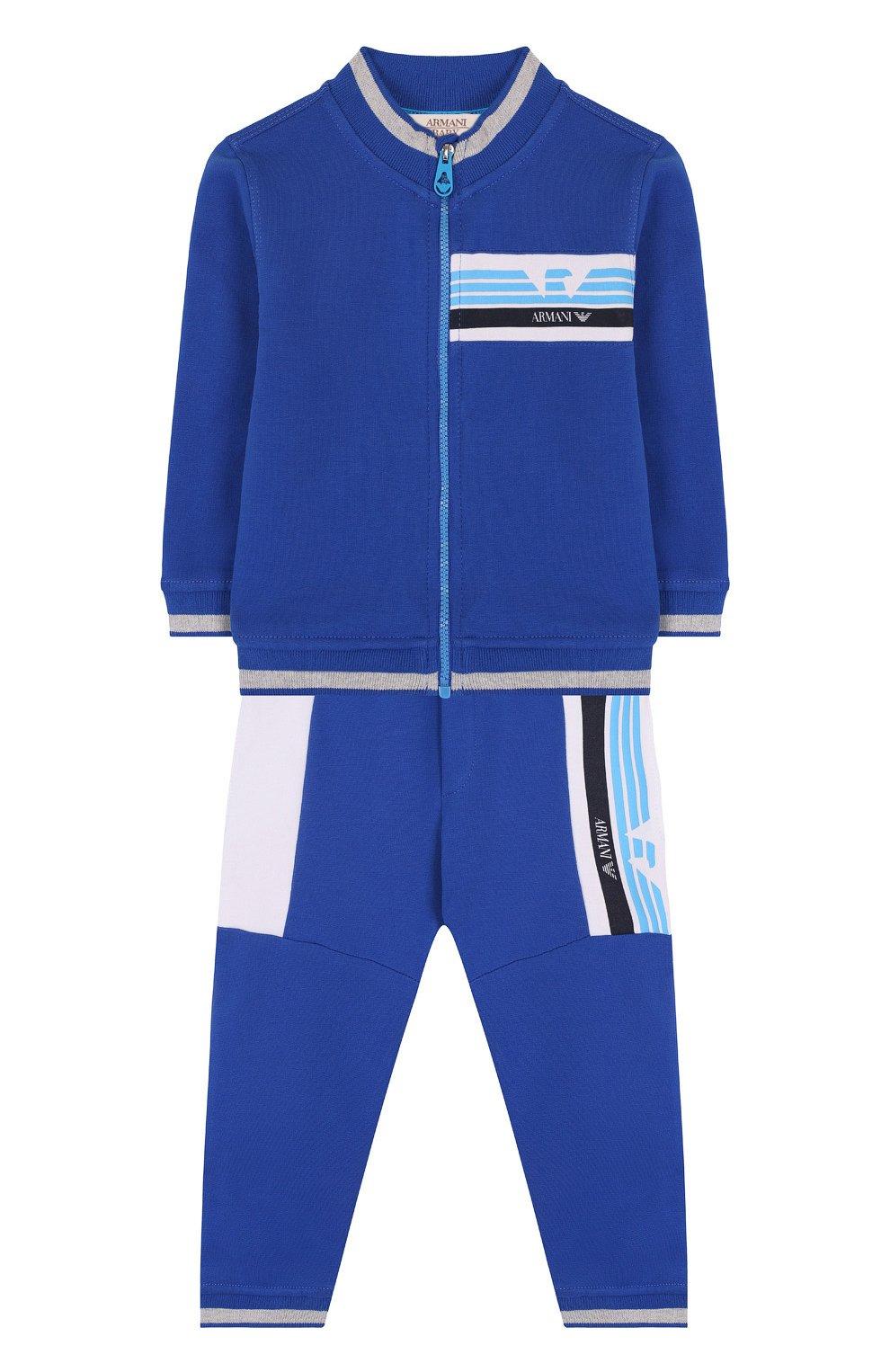 Детский хлопковый костюм из брюк и кардигана ARMANI JUNIOR синего цвета, арт. 3ZHV02/4J23Z | Фото 1