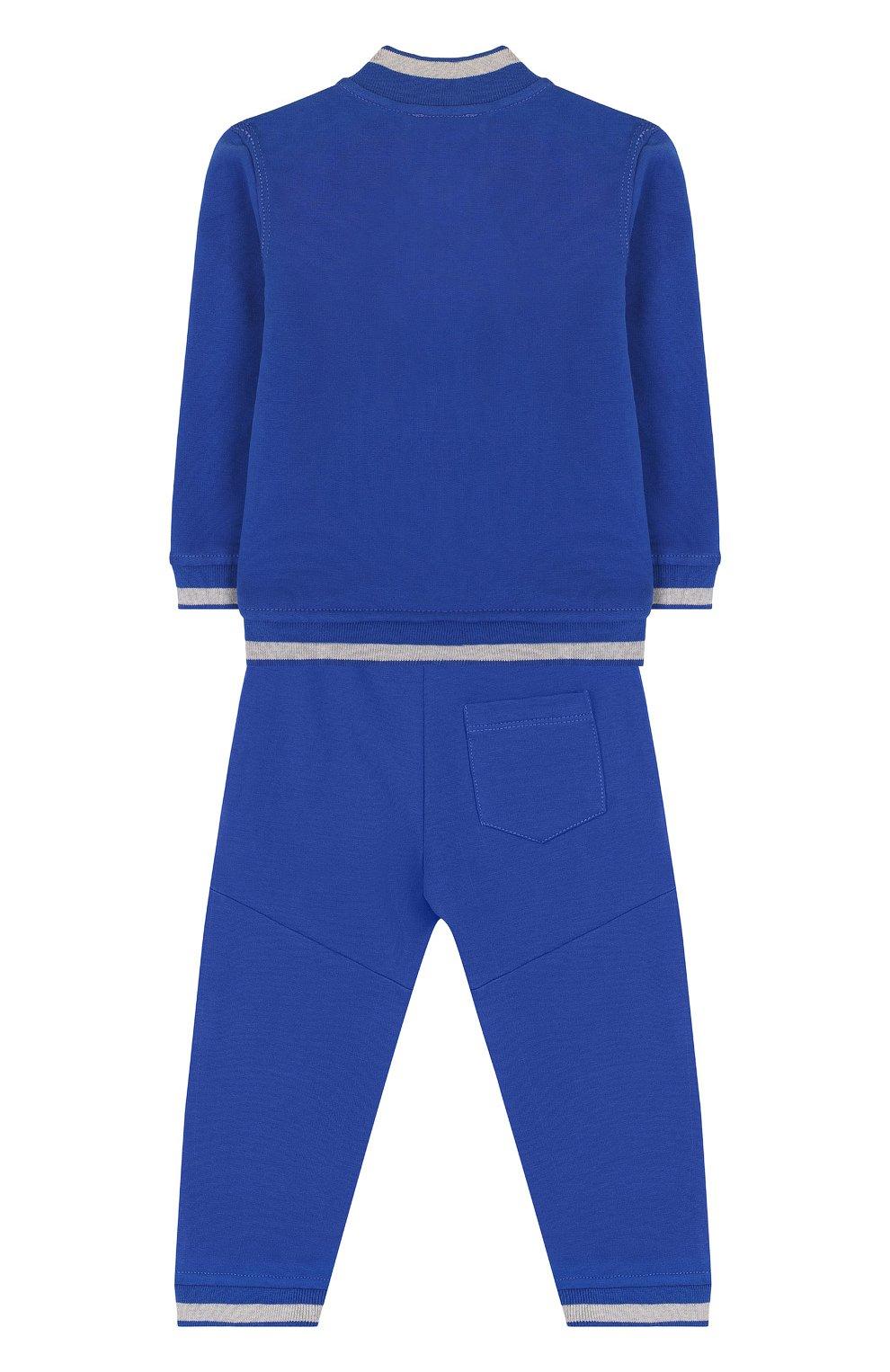 Детский хлопковый костюм из брюк и кардигана ARMANI JUNIOR синего цвета, арт. 3ZHV02/4J23Z | Фото 2