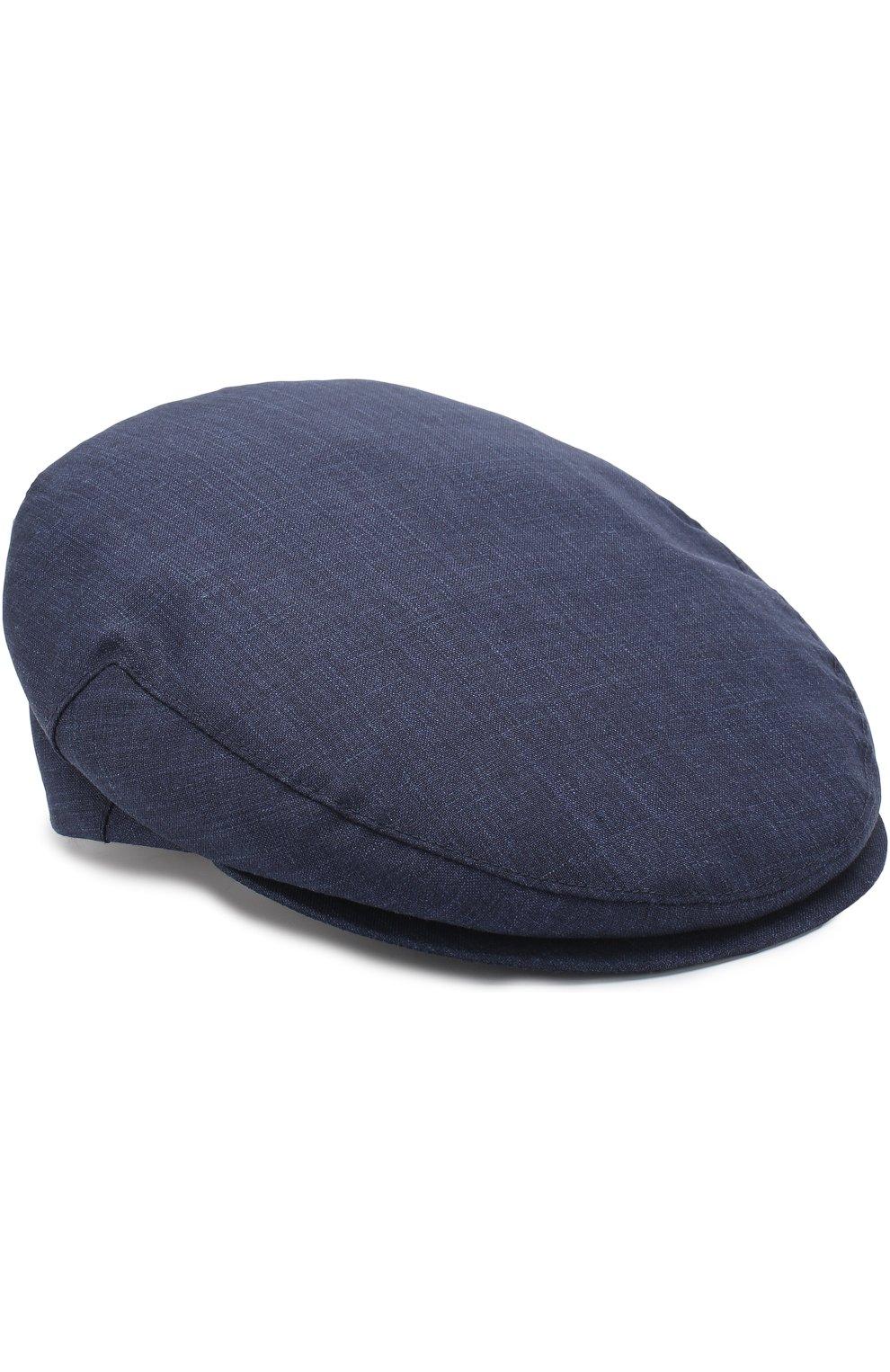 Мужская кепи из смеси шерсти и шелка со льном LUCIANO BARBERA темно-синего цвета, арт. 128001/46079 | Фото 1