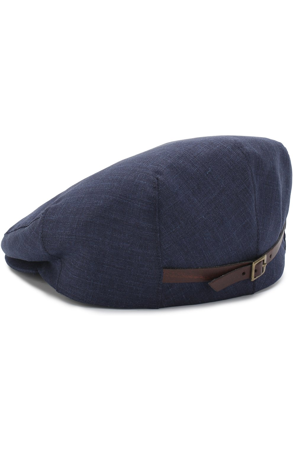 Мужская кепи из смеси шерсти и шелка со льном LUCIANO BARBERA темно-синего цвета, арт. 128001/46079 | Фото 2