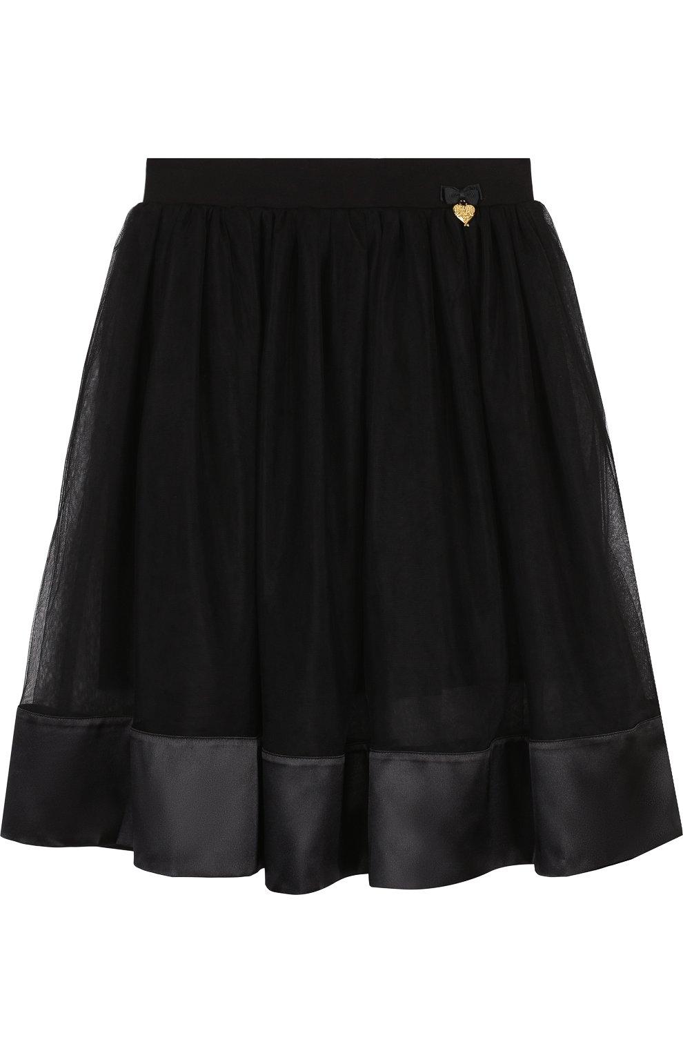 Детская многослойная юбка с отделкой ANGEL'S FACE черного цвета, арт. ELLIE/8-9 | Фото 1