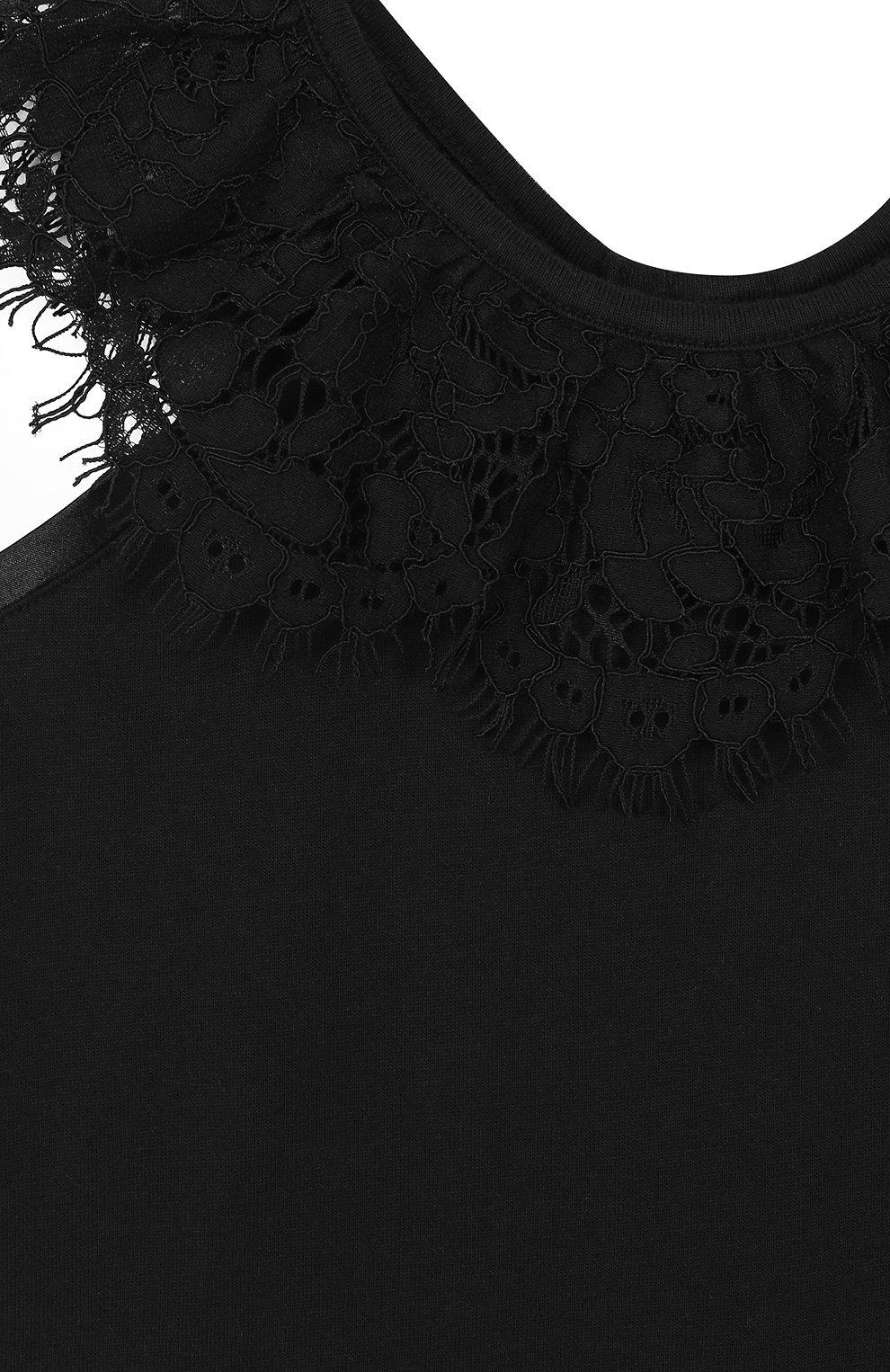 Детский топ джерси с кружевной отделкой и открытыми плечами ANGEL'S FACE черного цвета, арт. LUCILLE/2-7 | Фото 3