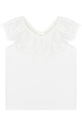 Детский топ джерси с кружевной отделкой и открытыми плечами ANGEL'S FACE белого цвета, арт. LUCILLE/8-9 | Фото 1