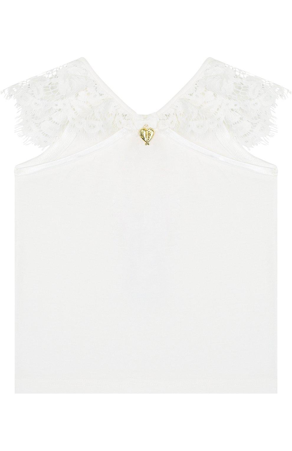 Детский топ джерси с кружевной отделкой и открытыми плечами ANGEL'S FACE белого цвета, арт. LUCILLE/8-9 | Фото 2