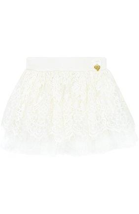 Кружевная мини-юбка свободного кроя | Фото №1
