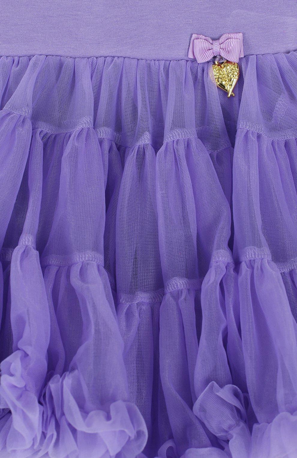 Детская многослойная мини-юбка свободного кроя с оборкой ANGEL'S FACE фиолетового цвета, арт. SKIRT/CHARMTUTU/2-7 | Фото 3