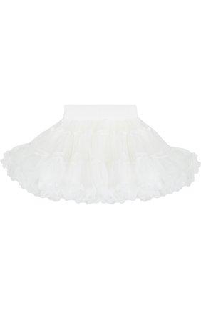 Многослойная мини-юбка свободного кроя с оборкой | Фото №2