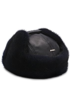 Мужская кожаная шапка-ушанка с меховой отделкой ZILLI темно-синего цвета, арт. MHQ-0RS00-01005/1002 | Фото 2