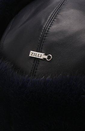 Мужская кожаная шапка-ушанка с меховой отделкой ZILLI темно-синего цвета, арт. MHQ-0RS00-01005/1002 | Фото 3