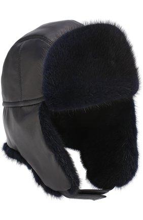 Мужская кожаная шапка-ушанка с меховой отделкой ZILLI темно-синего цвета, арт. MHQ-0RS00-01005/1002 | Фото 4