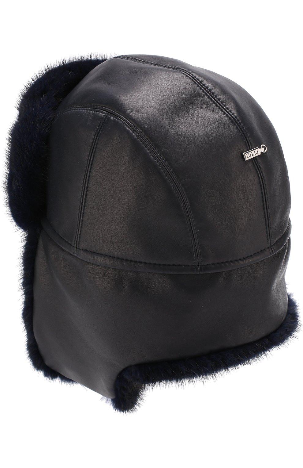 Мужская кожаная шапка-ушанка с меховой отделкой ZILLI темно-синего цвета, арт. MHQ-0RS00-01005/1002 | Фото 5