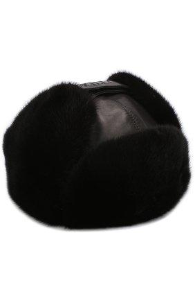 Кожаная шапка-ушанка с меховой отделкой | Фото №1