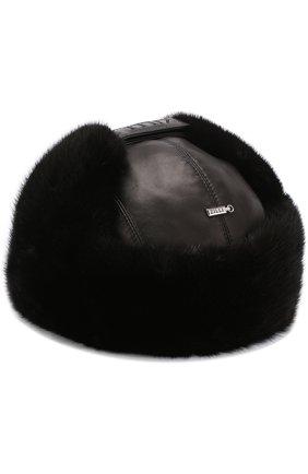 Кожаная шапка-ушанка с меховой отделкой | Фото №2