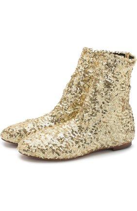 Текстильные ботинки с отделкой пайетками   Фото №1