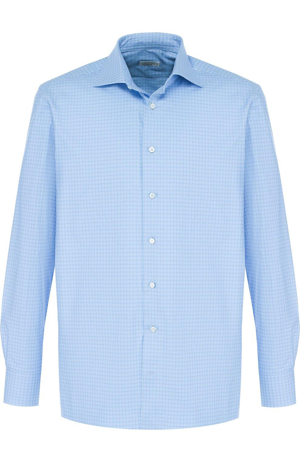 Мужская хлопковая сорочка с воротником акула ZILLI голубого цвета, арт. MFP-MERCU-01062/0001 | Фото 1