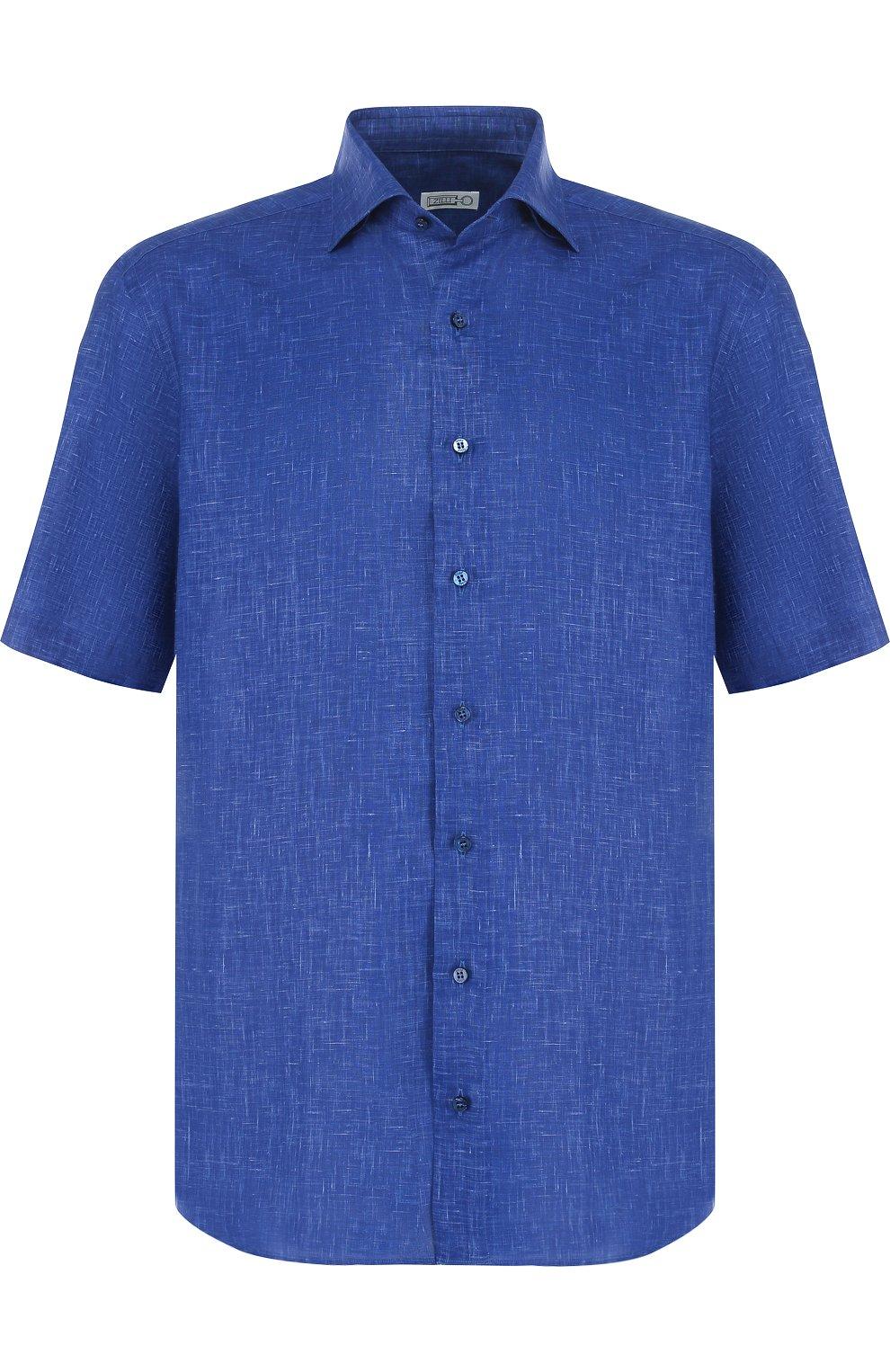 Мужская льняная рубашка с короткими рукавами ZILLI темно-синего цвета, арт. MFP-MERCU-17092/0006 | Фото 1