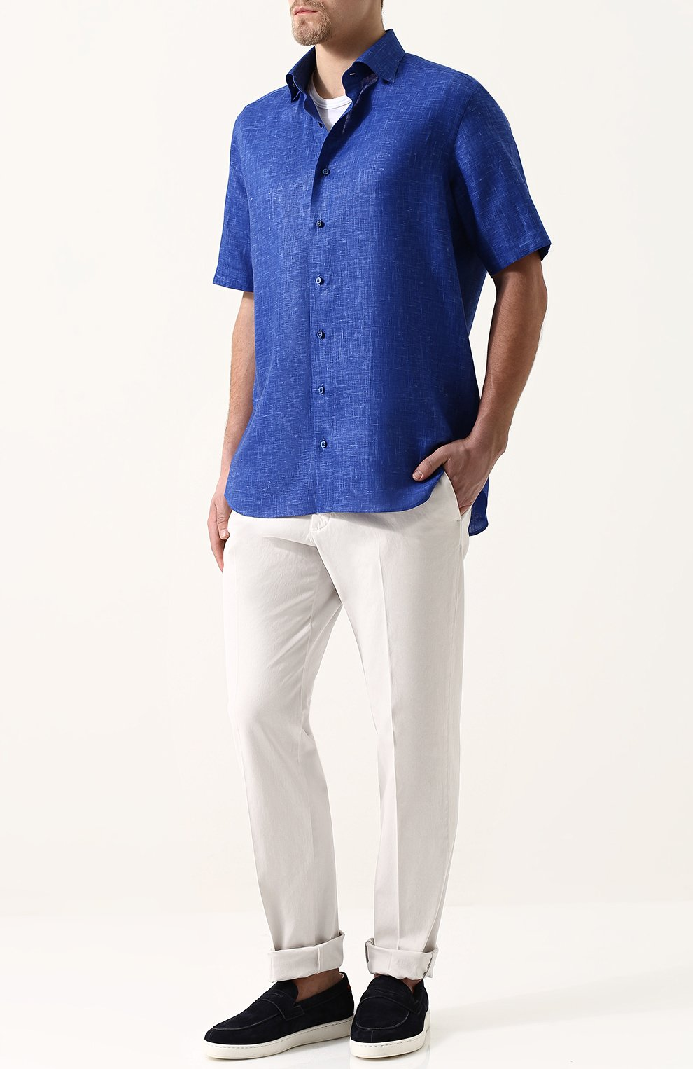 Мужская льняная рубашка с короткими рукавами ZILLI темно-синего цвета, арт. MFP-MERCU-17092/0006 | Фото 2