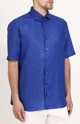 Мужская льняная рубашка с короткими рукавами ZILLI темно-синего цвета, арт. MFP-MERCU-17092/0006 | Фото 3
