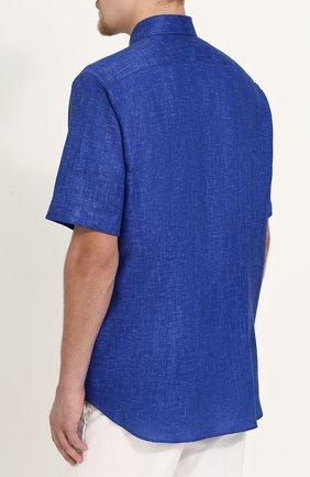 Мужская льняная рубашка с короткими рукавами ZILLI темно-синего цвета, арт. MFP-MERCU-17092/0006 | Фото 4