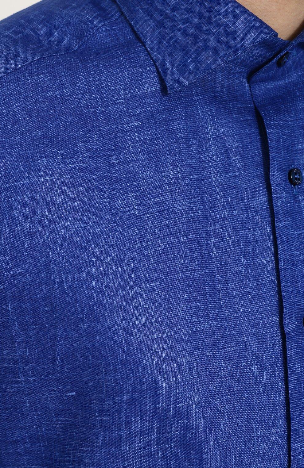 Мужская льняная рубашка с короткими рукавами ZILLI темно-синего цвета, арт. MFP-MERCU-17092/0006 | Фото 5