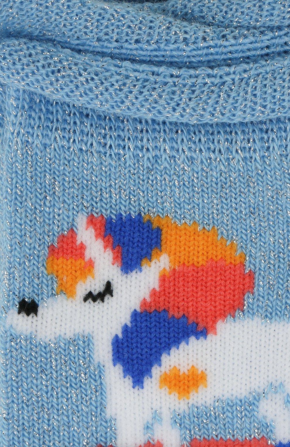 Детские носки с принтом FALKE голубого цвета, арт. 12146 | Фото 2